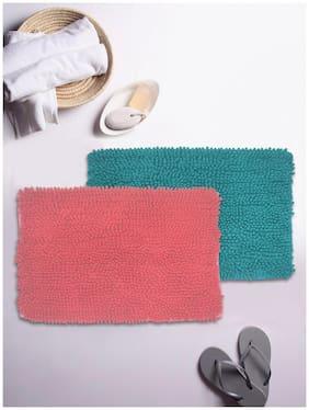 BIANCA Super-Soft Shaggy Floor Rug With Non-Slip Back -2pc Big (yakuza) solid-coral/turq
