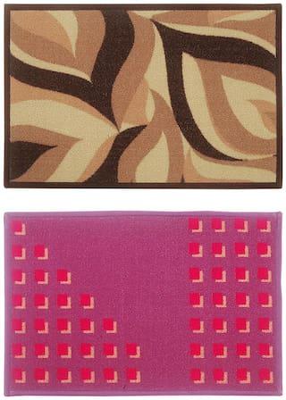 BIANCA Tough-Thin Printed Door Mat With Non-Slip Rubber Backing -2pc Medium set (splender) shedds/cube-multi