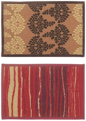 BIANCA Tough-Thin Printed Door Mat With Non-Slip Rubber Backing -2pc Small set (splender) deco leaves/lines-multi