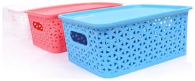 Bienvenue 1 pc Basket with Lid Multicolour (random) for Baby Care, Office, Bedroom, Bathroom, Stationary and Baby Grooming