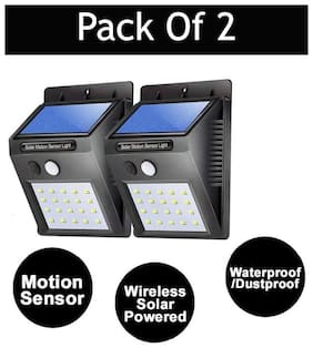 Outdoor Wireless Solar Powered Motion Sensing Led Light (Pack of 2)