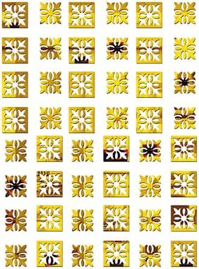 Bikri Kendra - Beautiful Pattern Golden 48 - 3D Acrylic Decorative Mirror Wall Stickers