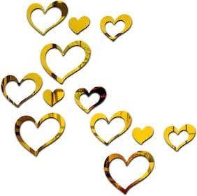 Bikri Kendra - Beautiful Love Heart 12 Golden - 3D Mirror Acrylic Wall Stickers Decorative