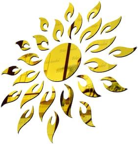 Bikri Kendra - Sun Golden ( 18 X 18 inch ) - 3D Mirror Acrylic Wall Stickers Decorative
