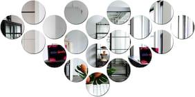 Bikri Kendra - 19 Circle Silver - 3D Acrylic Decorative Mirror Wall Stickers