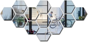 Bikri Kendra - 13 Hexagon Silver - 3D Mirror Acrylic Wall Stickers Decorative