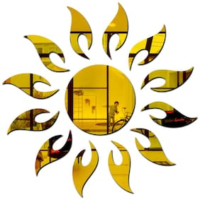 Bikri Kendra - Sun 13 Flame Golden - 3D Acrylic Mirror Wall Stickers