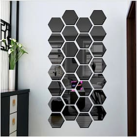 Bikri Kendra - Hexagon 28 Black - 3D Acrylic Decorative Mirror Wall Stickers