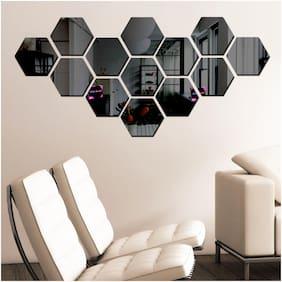 Bikri Kendra - Hexagon 13 Black - 3D Acrylic Decorative Mirror Wall Stickers