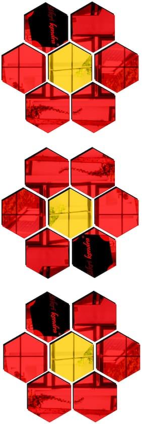 Bikri Kendra - Hexagon Red 18 Golden 3 - 3D Mirror Acrylic Wall Stickers Decorative