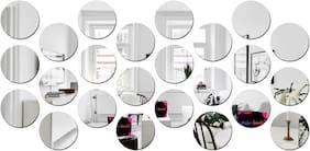 Bikri Kendra - 24 Circle Silver - 3D Acrylic Decorative Mirror Wall Stickers