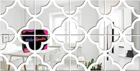 Bikri Kendra - 8 Lovely Pattern Silver - 3D Acrylic Decorative Mirror Wall Stickers