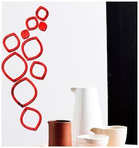 Bikri Kendra - Oval Ring 10 Red - 3D Acrylic Mirror Wall Stickers