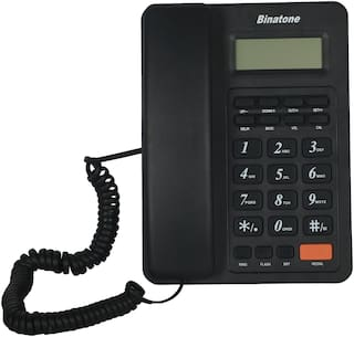 Binatone Spirit 221 Basic Corded Landline Phone with Display for Office & Home (Black)