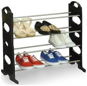 Black Boss 12 Pairs Plastic Collapsible Shoe Stand  (Black  4 Shelves)