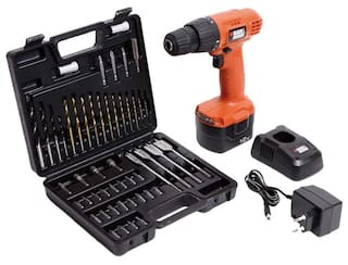 Black & Decker CD121K50Black & Decker Red Cordless Drill With Keyless Chuck And 50 pcs Tool Kit