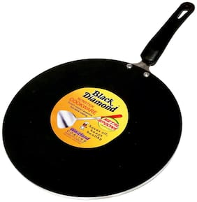 Black Diamond 4 mm Non Stick Curved Tava with Bakalite Handle(Metal Spoon Friendly Coating)