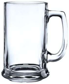 BLinkMax Glass Mug(525 ml, Clear, White, Pack of 2)