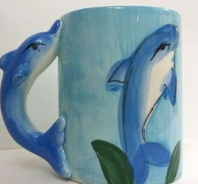 Blue Dolphin 3D Animal Shape Hand Painted Ceramic Mug / Cup for Kids