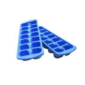 Blue Plastic Ice Trays - Set Of 2