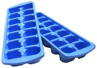 Blue Plastic Ice Trays - Set Of 2