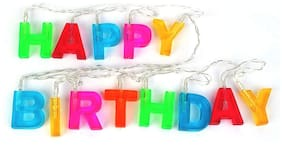 Bluebells India Multicolour Happy Birthday Lights with Name for Decorations, 13 Letters LED String Light Banner