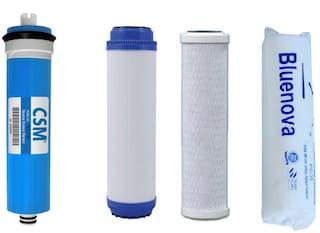 Bluenova Open RO service Kit with CSM 80 GPD membrane, Granular activated  carbon (GAC), Carbon block (CTO) and Spun filter