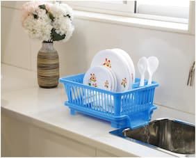 Bluewhale New 3 in 1 Large Sink Set Dish Rack Drainer with Tray for Kitchen;Dish Rack Plastic Kitchen Rack