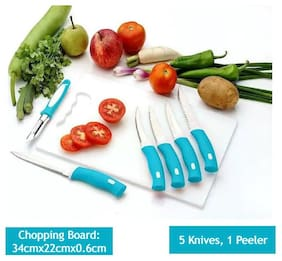 Bluewhale New Combo 7 pcs Knife Set, 1 pc Chopping Board, 1 pc Peeler, 5 pcs Knife set White & Blue Color. Plastic, Steel Knife Set (Pack of 7)