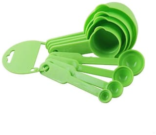 Bluewhale New 8 pcs Measuring Cups & Spoons Set for Cooking & Baking (Green)