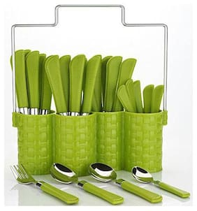 Bluewhale New Multi Green Color 24-Piece cutlery set with 1 Stand;4 Different type of Spoons Plastic;Steel Cutlery Set (Pack of 24)