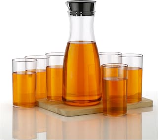 Bluewhale New Combo For 1 Liter Juice & 6 Pieces Glass Set