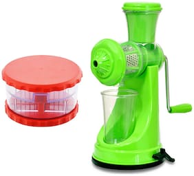 Bluzon Classic Green Juicer Combo with Red Multi Crusher (Pack of 2)