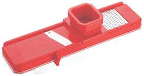 Bluzon Plastic Fruit and Vegetable Slicer with Safety Holder and Container(Red)