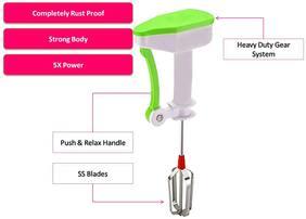 Bluzon Power free ABS Stainless Steel Egg Beater Lassi / Butter Milk Maker / Mixer Hand blender / Power free blender