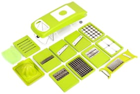 Bluzon Premium High Quality Easy To Use 15 in 1 Fruit & Vegetable Cutter - Chopper, Dicer ,Grater, Slicer - All In One(Green)