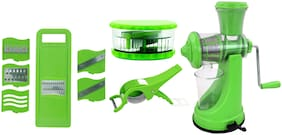 Bluzon Premium Kitchen Tools Combo of New Manual Juicer, 6 in 1 Slicer, Multi Crusher and Veg Cutter with Peeler
