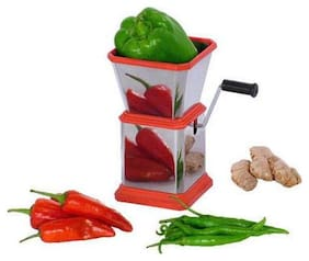 Bluzon Stainless Steel Chilly, Onion & Dry Fruits Cutter - Chopper (Red, Silver)