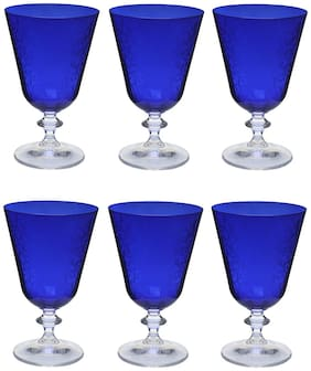 Bohemia Crystal Bella Dark Blue Pantograph cocktail glass 350 ml set of 6 pcs , Transparent , Non - lead Crystal