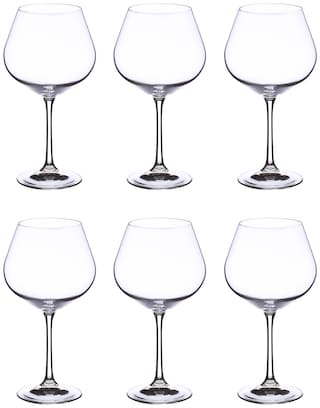 Bohemia Crystal Wine Glass set, Non Lead Crystal Viola wine Glass 570ml set of 6 pcs