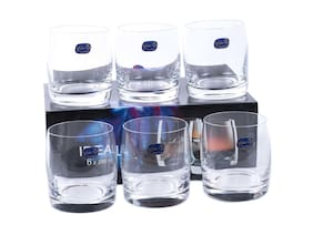 Bohemia-Crystal Ideal Whiskey Drinking Glass 290ml Set of 6pcs,Non-lead Crystal,Transparent