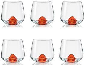 Bohemia Crystal Island whiskey glass 310 ml set of 6 pcs , Transparent , Non - lead Crystal