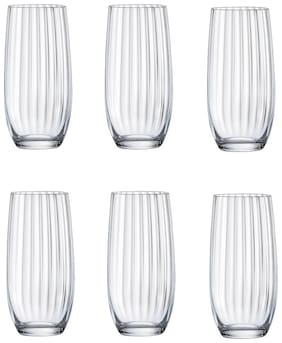 Bohemia Crystal Hi Ball Glass set, Non Lead Crystal club waterfall Hi ball glass 350ml set of 6 pcs