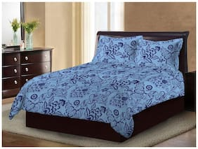 Bombay Dyeing Cotton Floral Double Size Bedsheet ( 1 Bedsheet With 2 Pillow Covers , Blue )