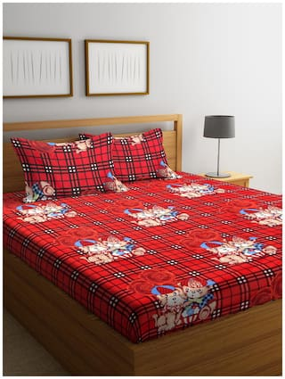Bombay Dyeing Microfiber Abstract Double Size Bedsheet 166 TC ( 1 Bedsheet With 2 Pillow Covers , Red )