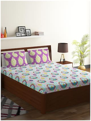 Bombay Dyeing Cotton Abstract Double Size Bedsheet 104 TC ( 1 Bedsheet With 2 Pillow Covers , Multi )