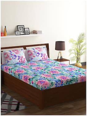 Bombay Dyeing Cotton Floral Double Size Bedsheet 120 TC ( 1 Bedsheet With 2 Pillow Covers , Multi )