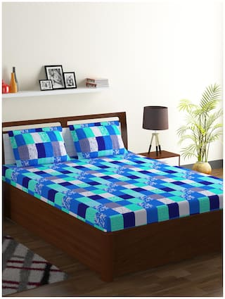 Bombay Dyeing Cotton Checkered Double Size Bedsheet 104 TC ( 1 Bedsheet With 2 Pillow Covers , Blue )