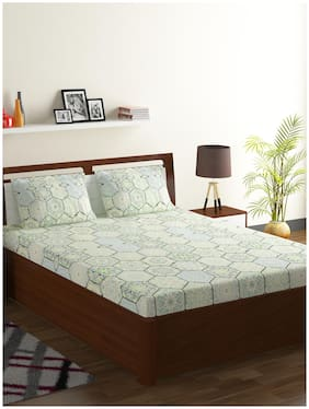 Bombay Dyeing Cotton Abstract Double Size Bedsheet 104 TC ( 1 Bedsheet With 2 Pillow Covers , Green )