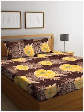 Bombay Dyeing Amber Microfiber Double Bedsheet with 2 Pillow Covers